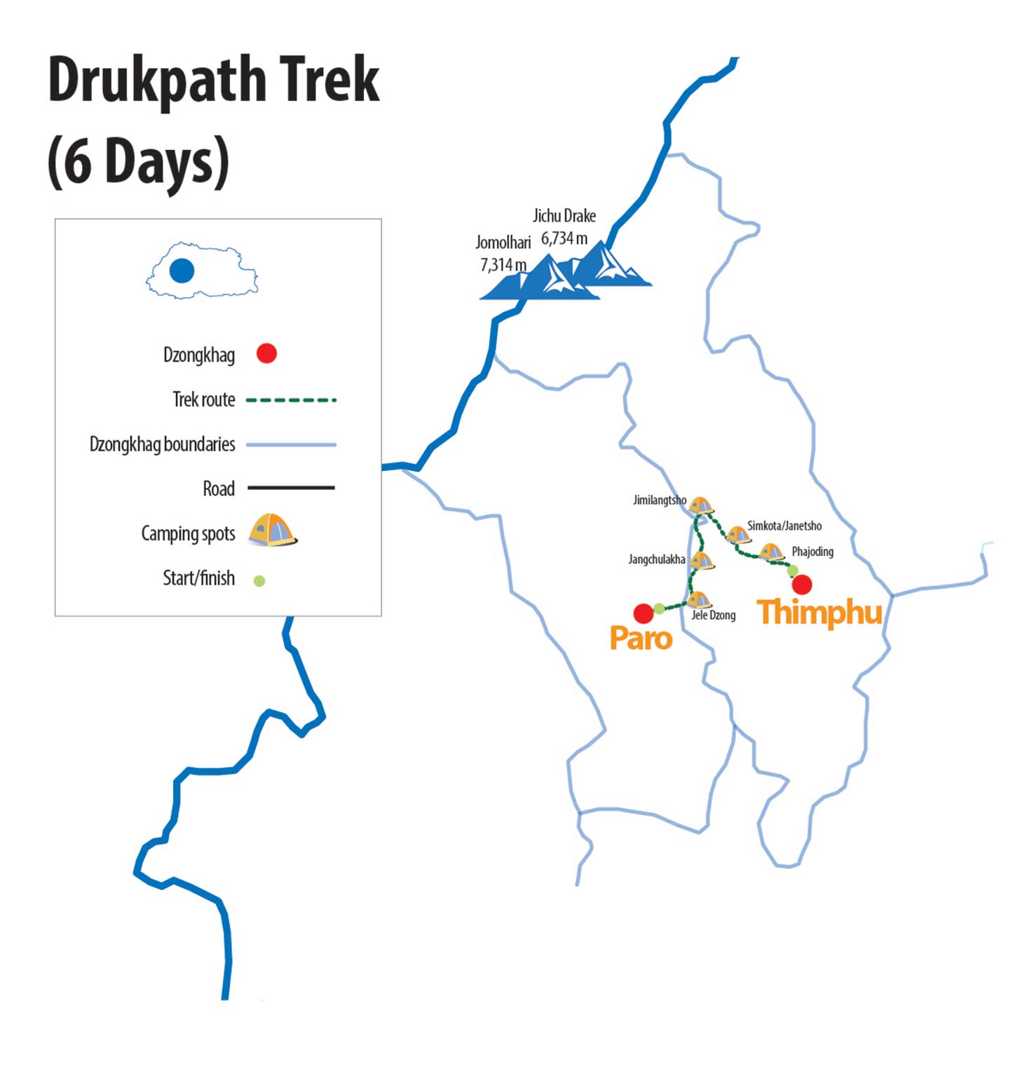 Druk Path Trek Route Map