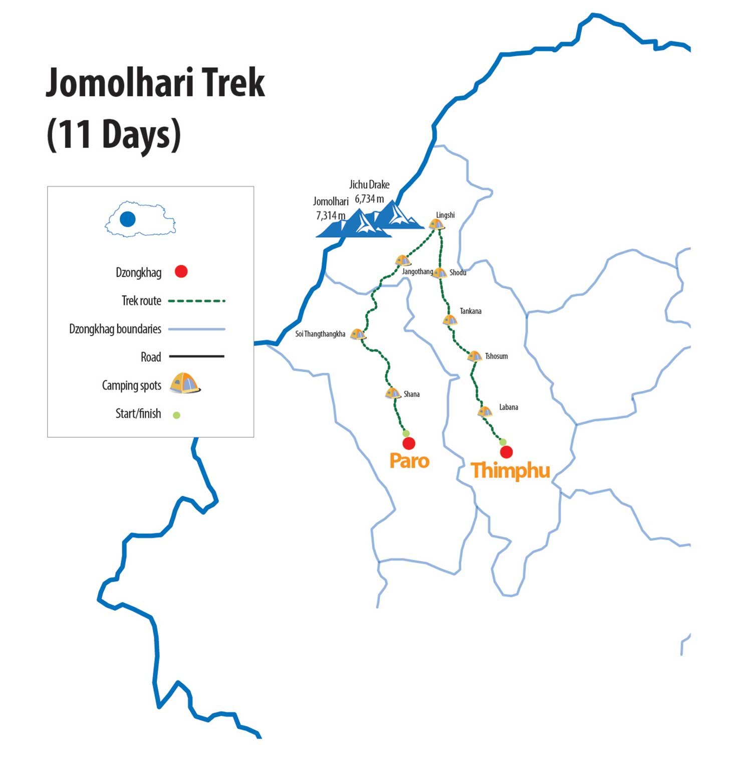 jomolhari trek route map