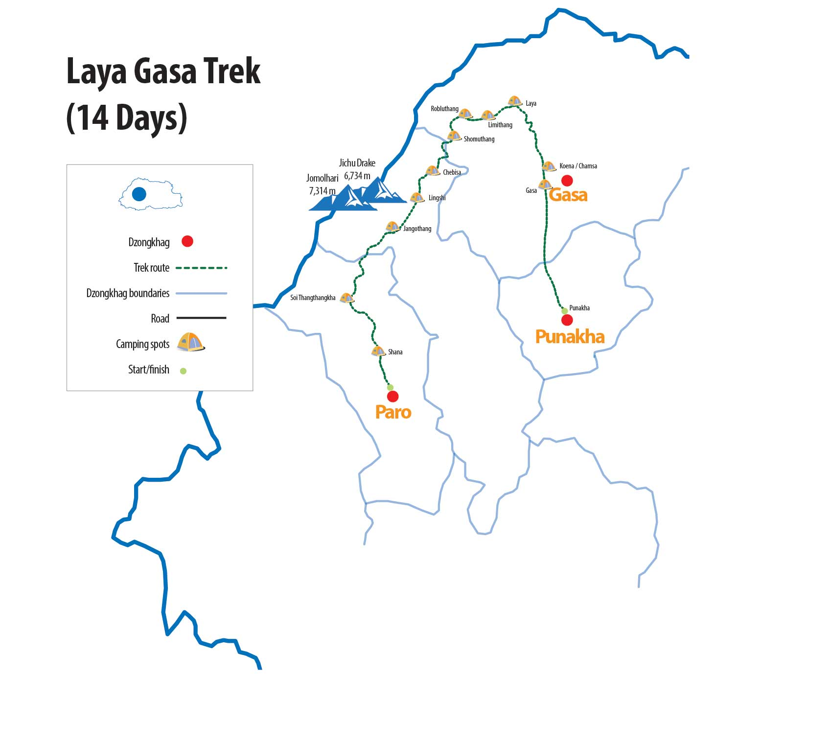 Laya Gasa Trek Route Map