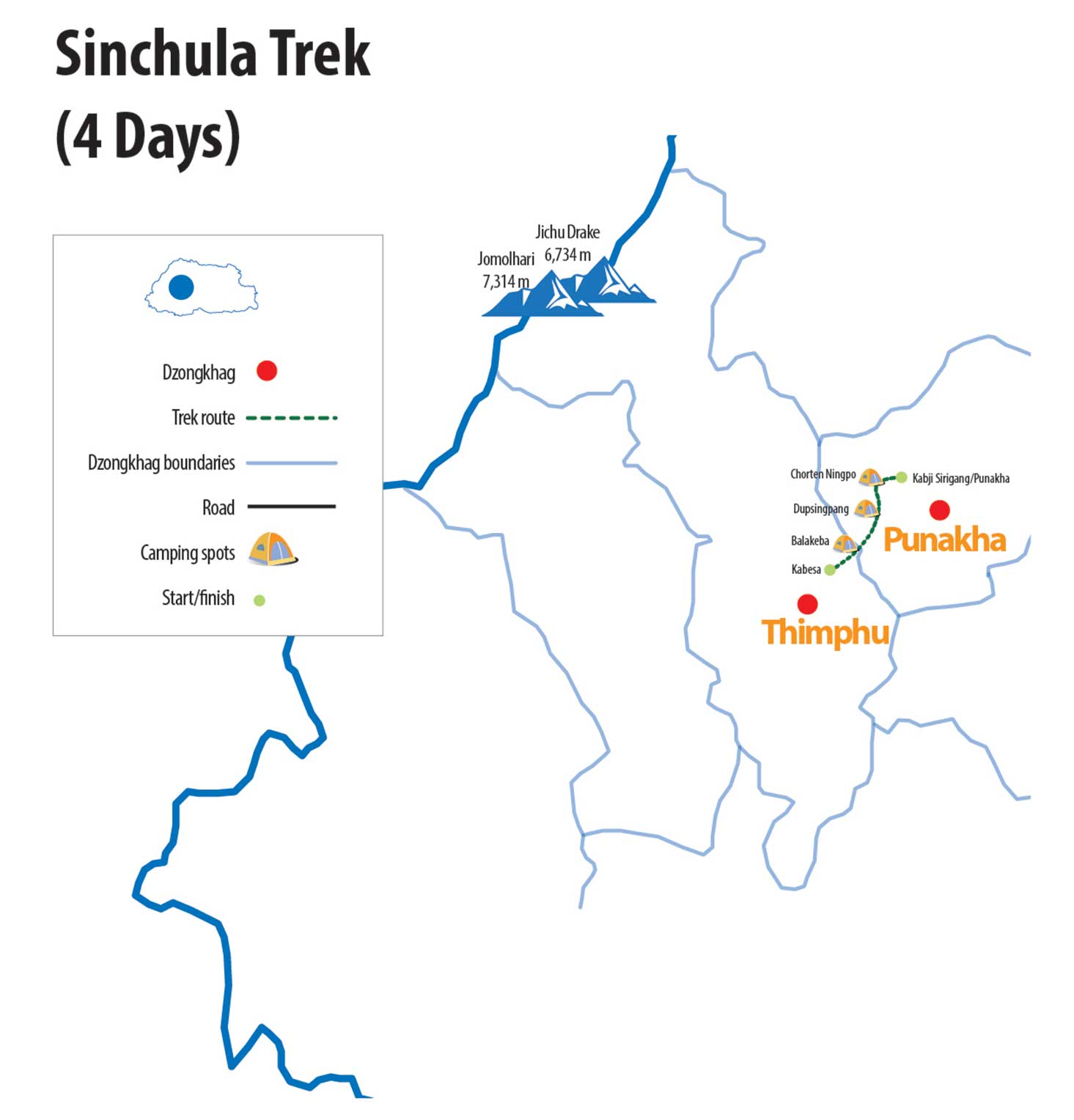 Sinchula Trek Route Map