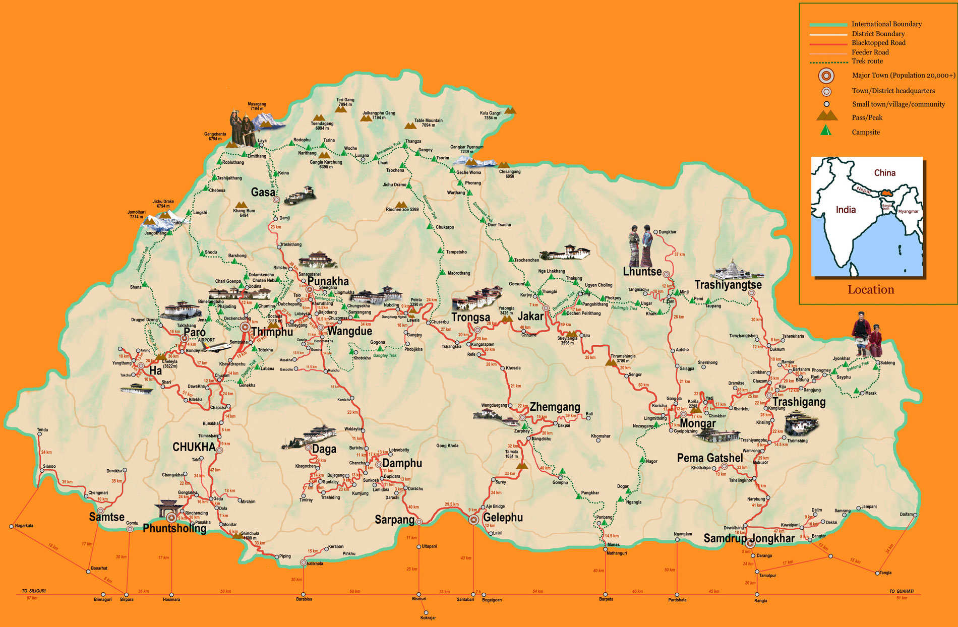 Bhutan Map For Tourism